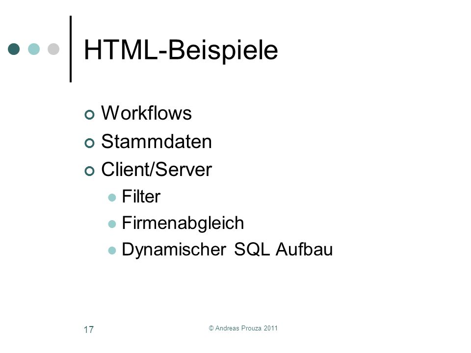 HTML-Beispiele Workflows Stammdaten Client/Server Filter