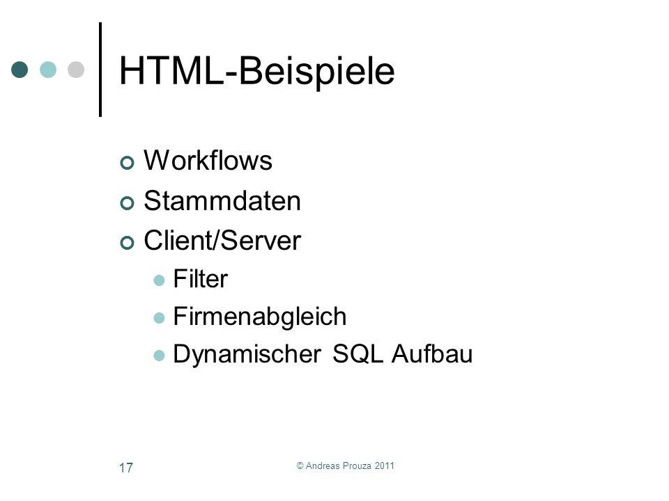 HTML-Beispiele Workflows Stammdaten Client/Server Filter