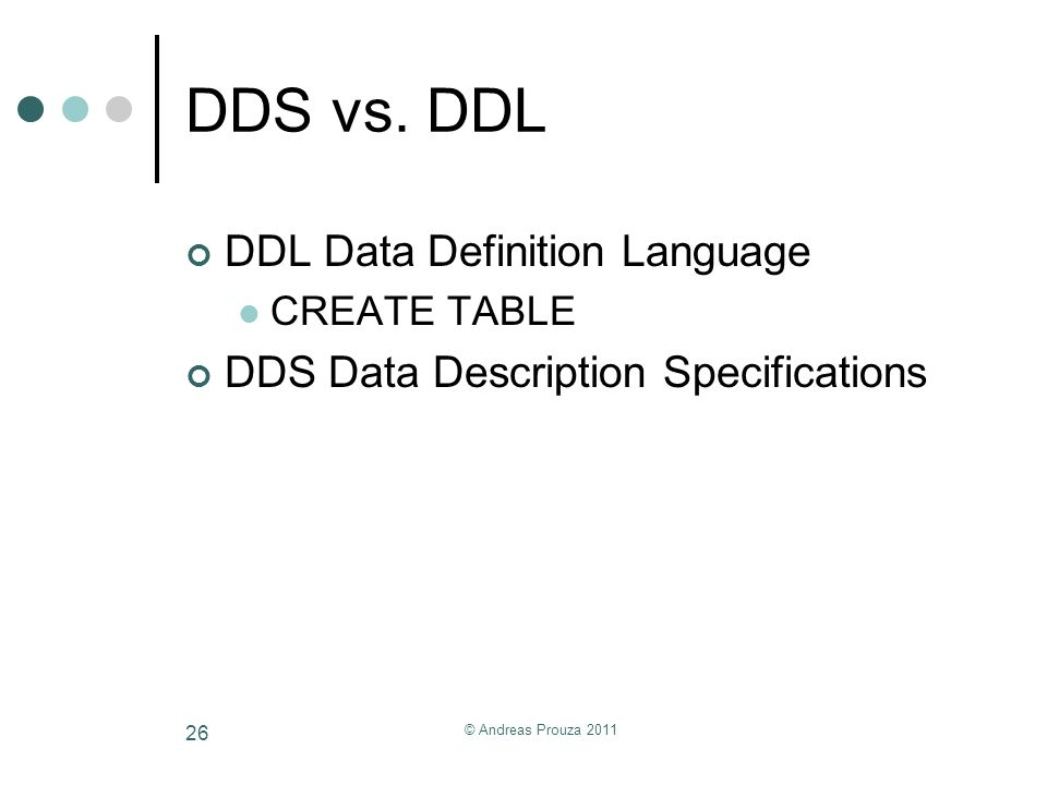 DDS vs. DDL DDL Data Definition Language