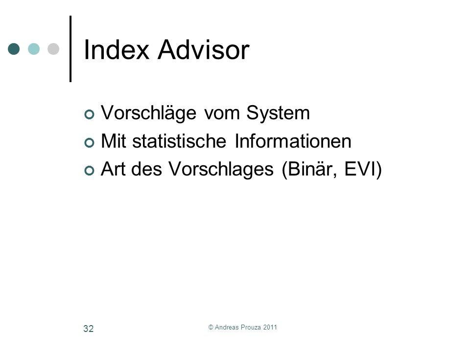 Index Advisor Vorschläge vom System Mit statistische Informationen