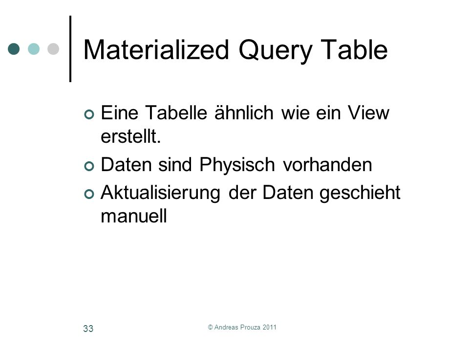 Materialized Query Table