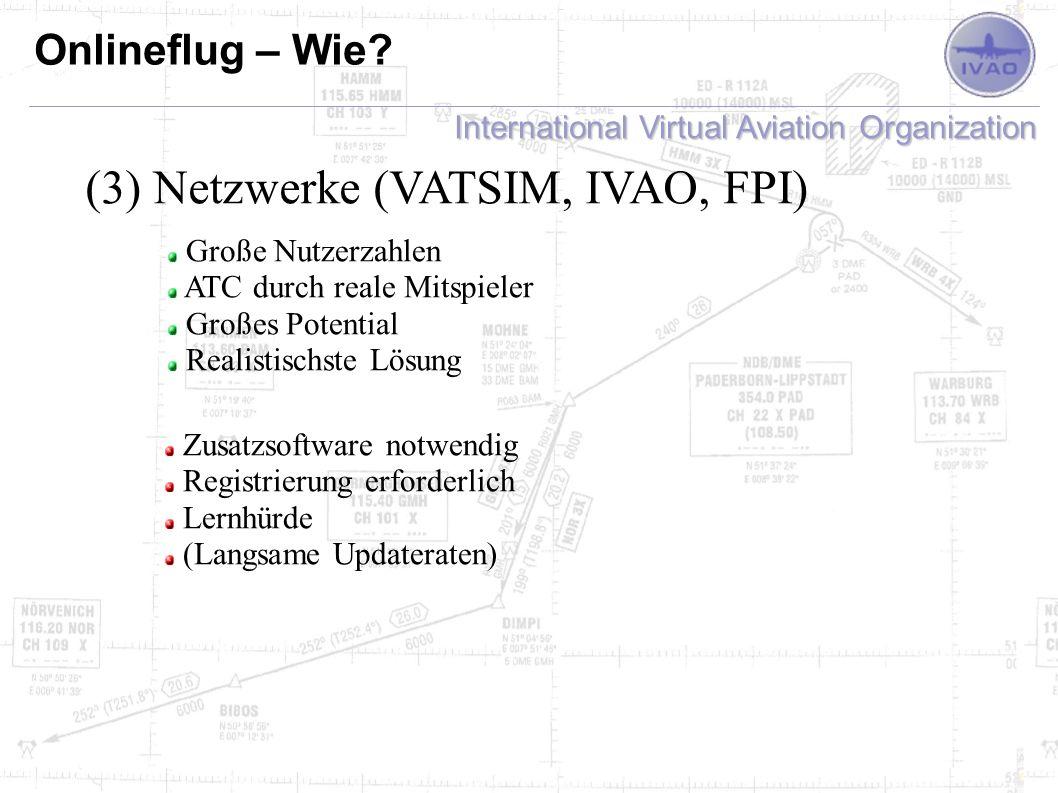 Netzwerke (VATSIM, IVAO, FPI)