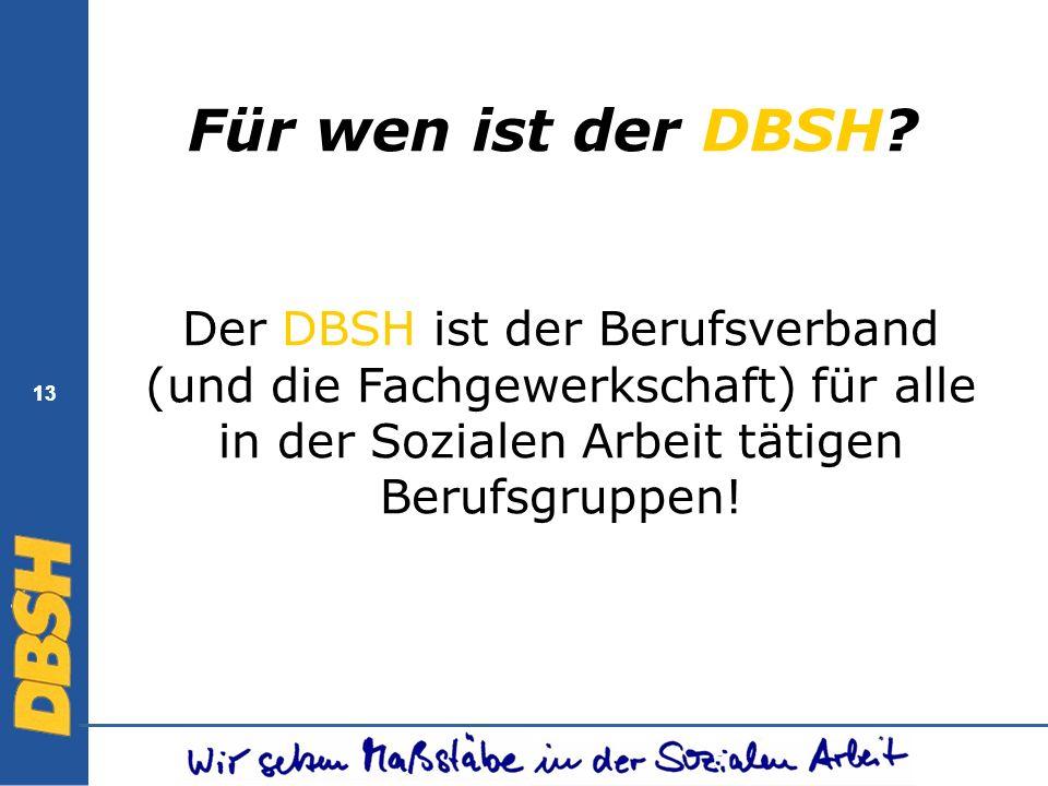 Für wen ist der DBSH Der DBSH ist der Berufsverband (und die Fachgewerkschaft) für alle in der Sozialen Arbeit tätigen Berufsgruppen!