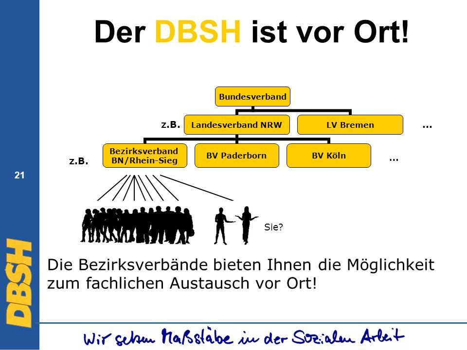 Der DBSH ist vor Ort. z.B. ... … z.B. 21. Sie.