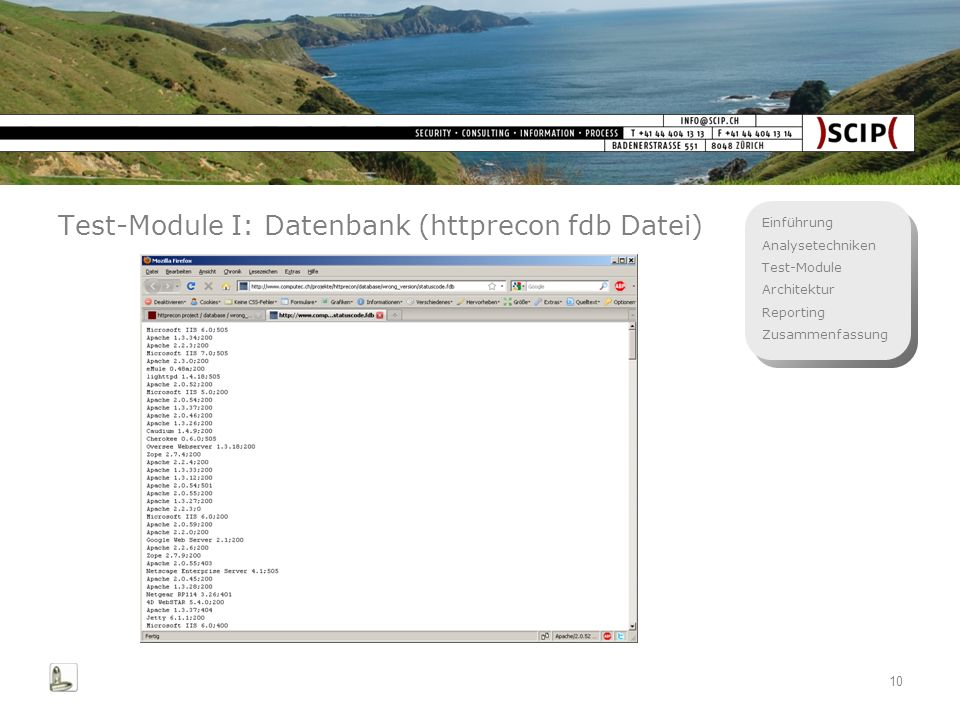 Test-Module I: Datenbank (httprecon fdb Datei)