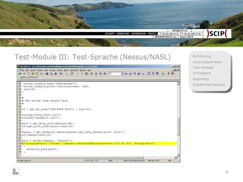 Test-Module III: Test-Sprache (Nessus/NASL)
