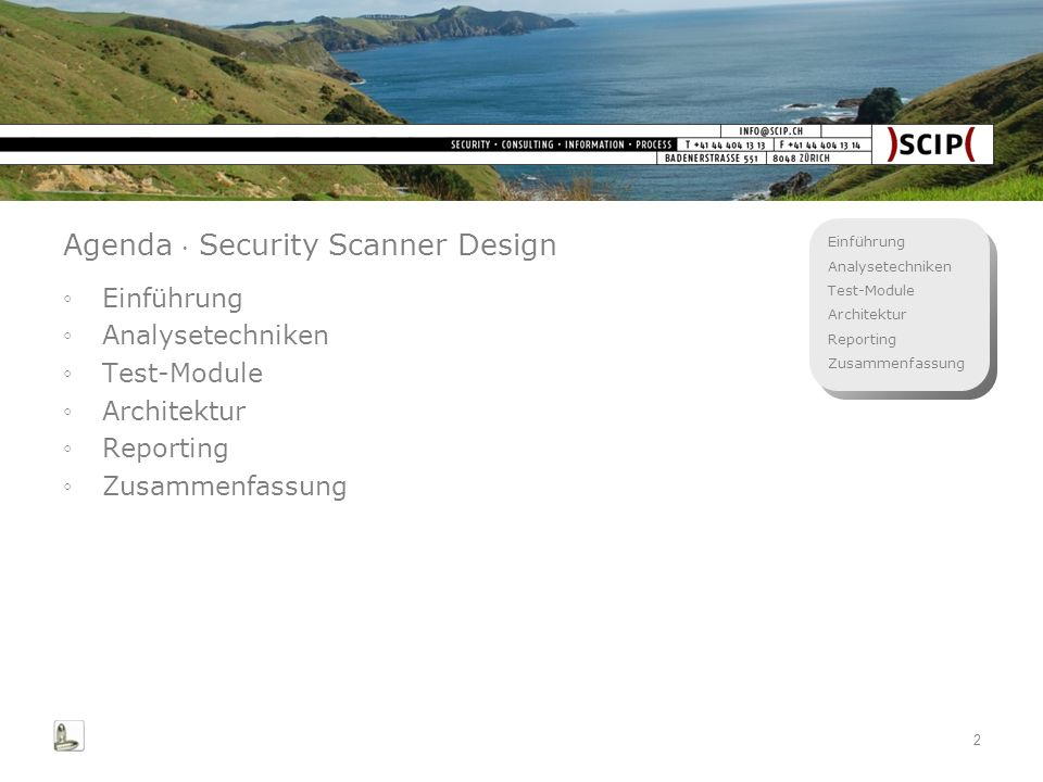 Agenda  Security Scanner Design