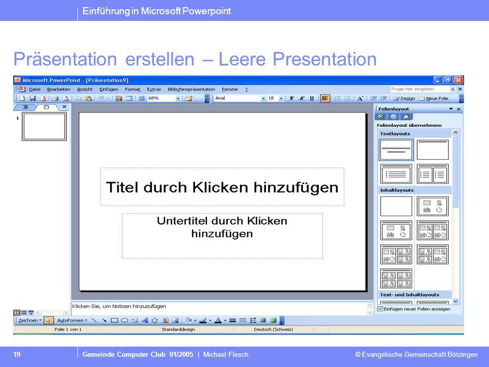 Präsentation erstellen – Leere Presentation