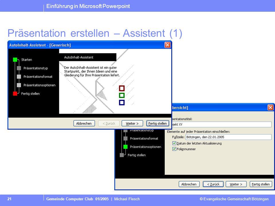 Präsentation erstellen – Assistent (1)