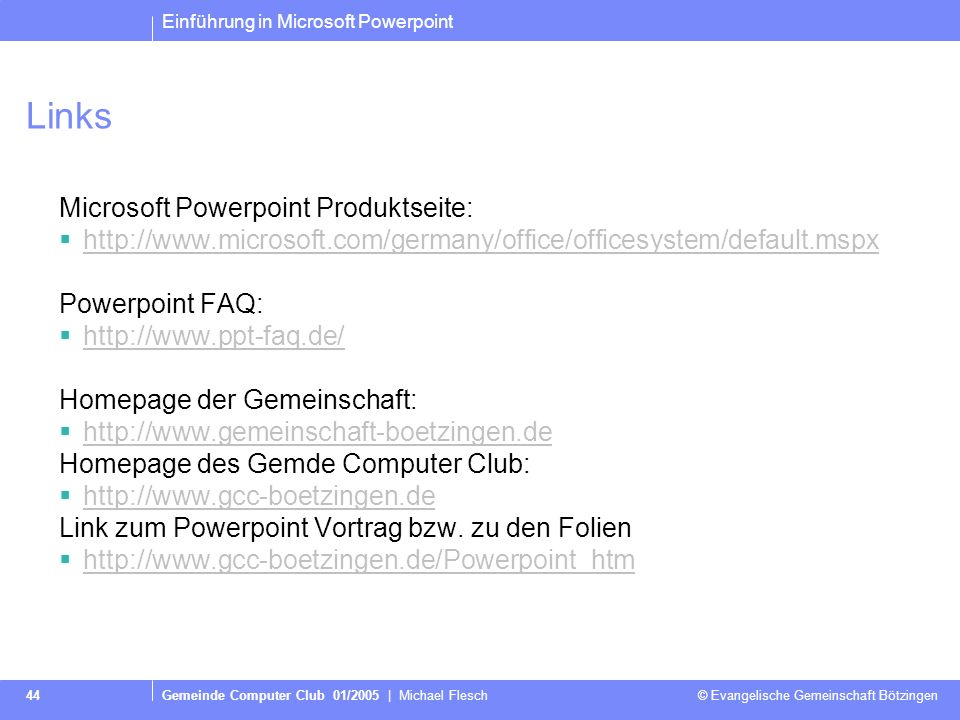 Links Microsoft Powerpoint Produktseite: