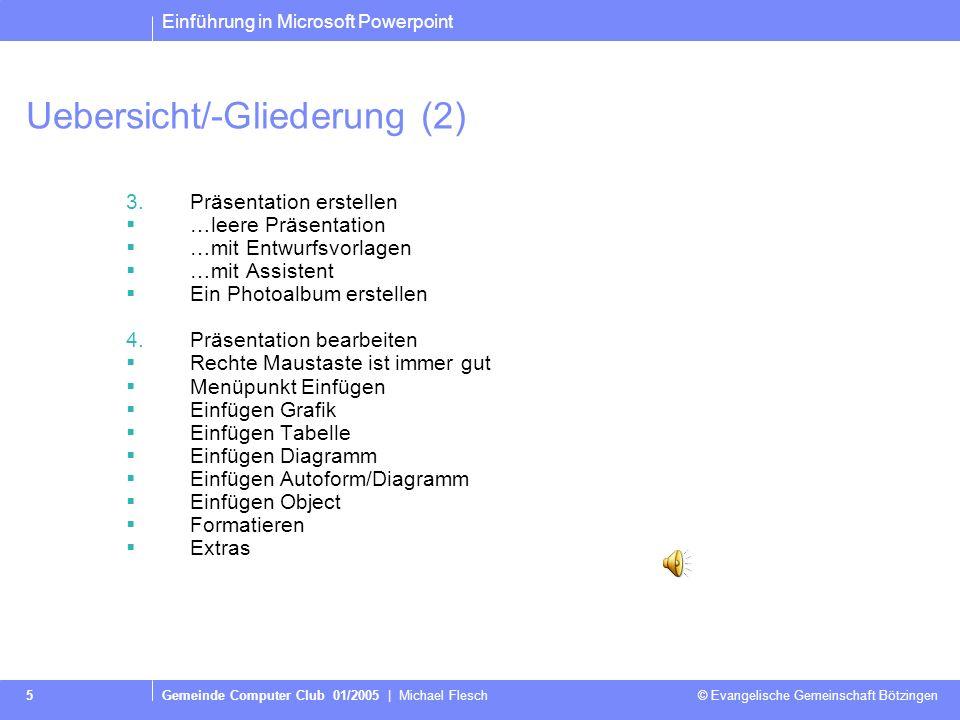 Uebersicht/-Gliederung (2)