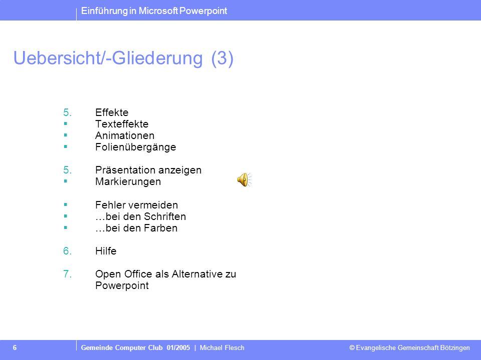 Uebersicht/-Gliederung (3)