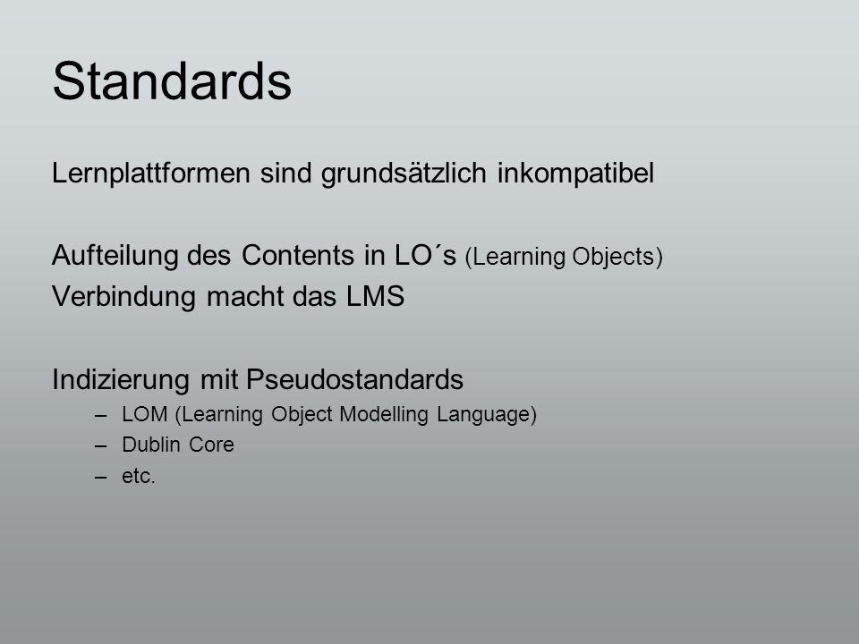 Standards Lernplattformen sind grundsätzlich inkompatibel