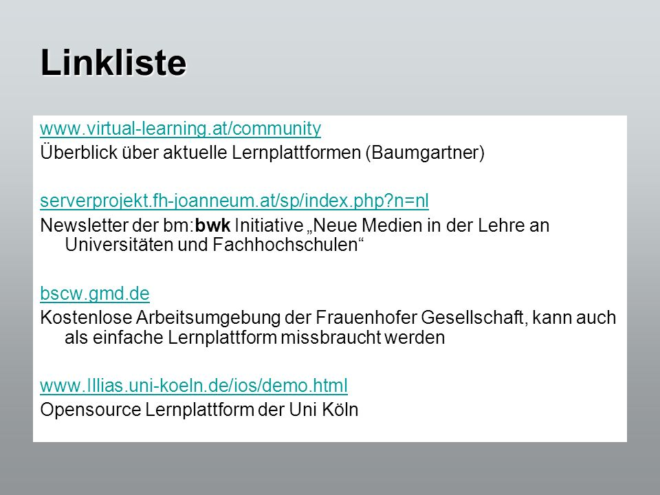 Linkliste www.virtual-learning.at/community