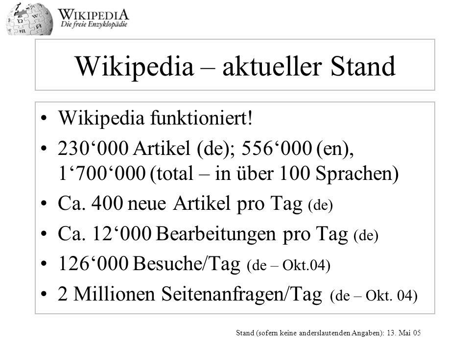 Wikipedia – aktueller Stand