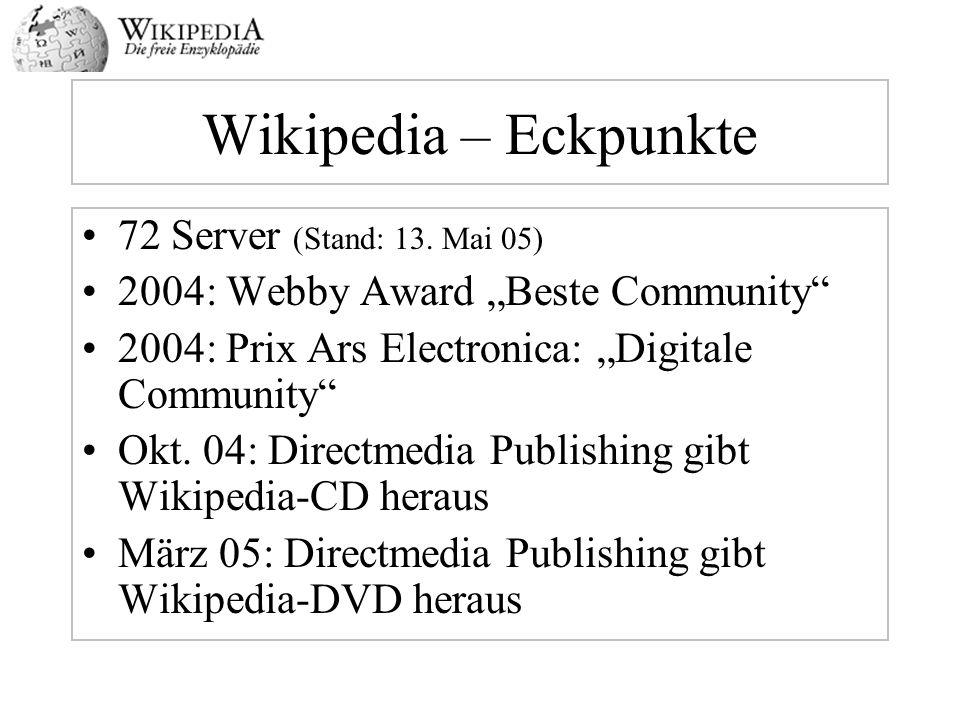 Wikipedia – Eckpunkte 72 Server (Stand: 13. Mai 05)