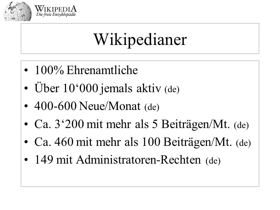 Wikipedianer 100% Ehrenamtliche Über 10'000 jemals aktiv (de)