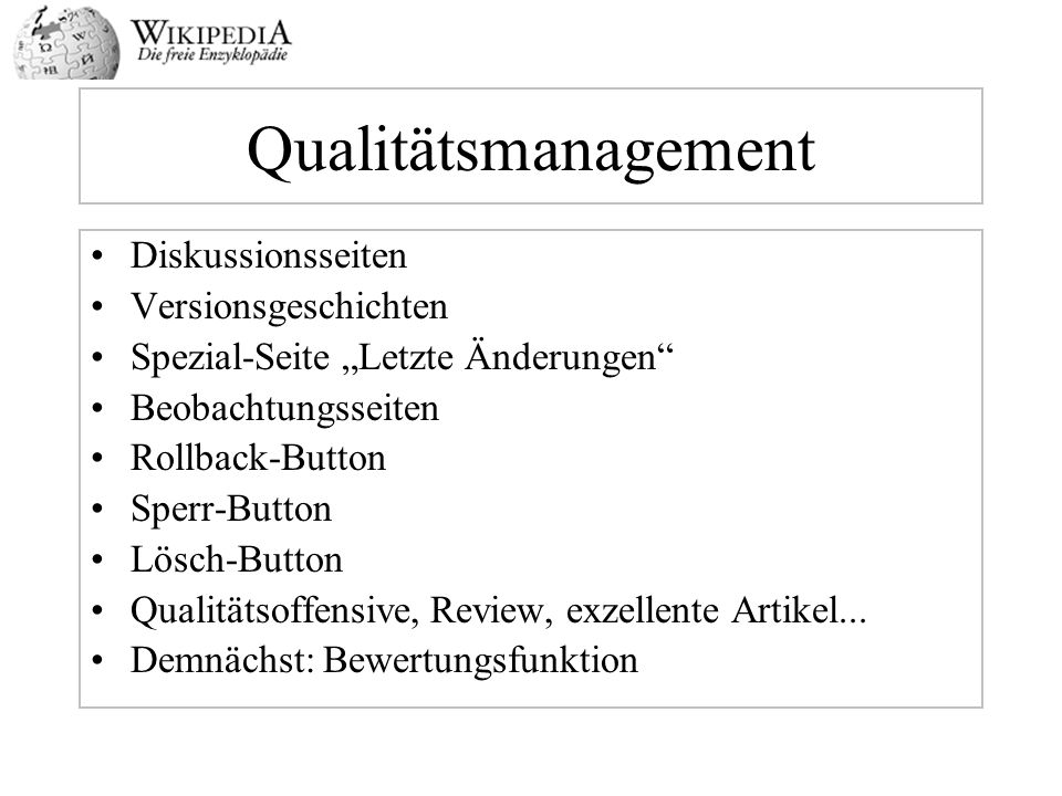 Qualitätsmanagement Diskussionsseiten Versionsgeschichten