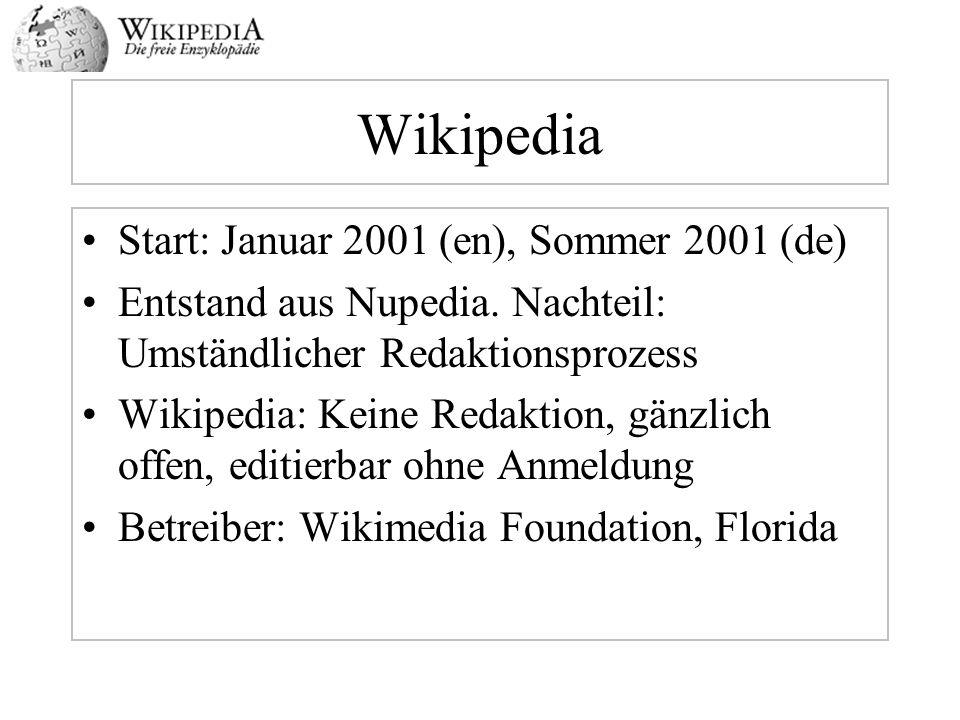 Wikipedia Start: Januar 2001 (en), Sommer 2001 (de)