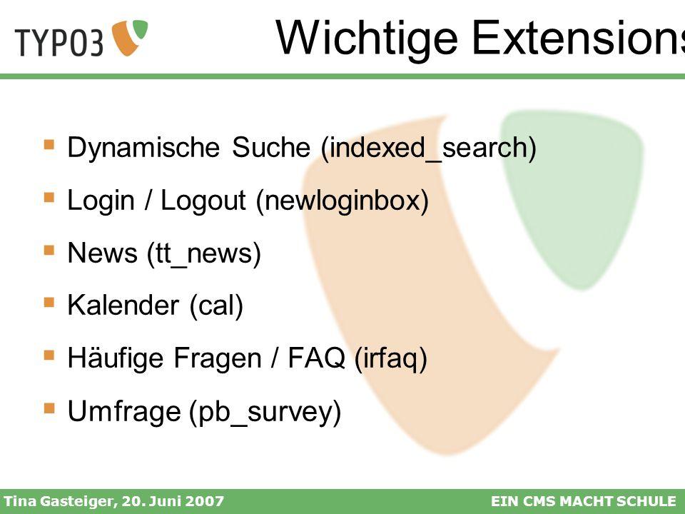 Wichtige Extensions Umfrage (pb_survey)