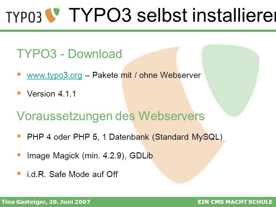 TYPO3 selbst installieren