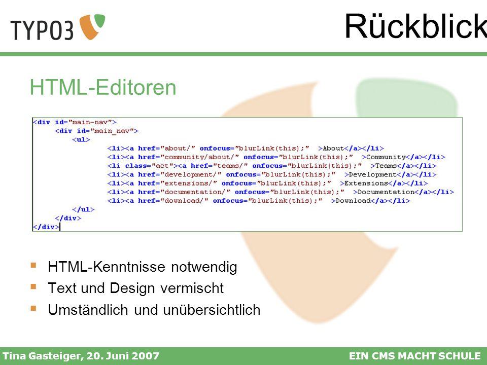 Rückblick HTML-Editoren HTML-Kenntnisse notwendig