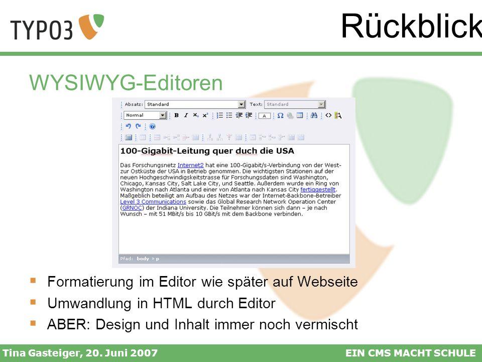 Rückblick WYSIWYG-Editoren