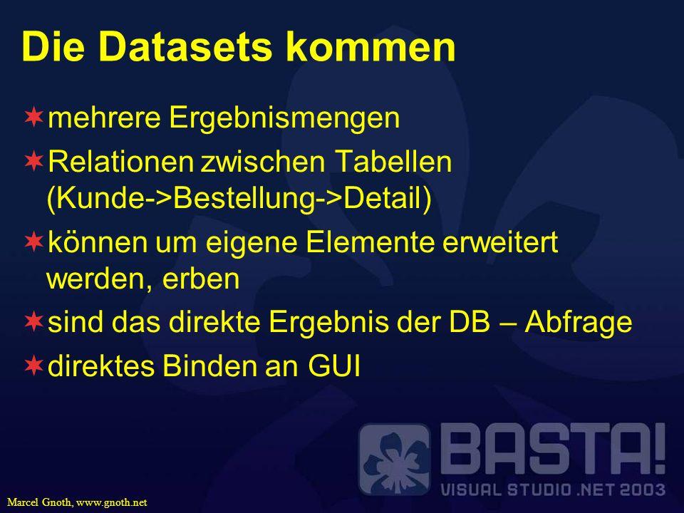 Die Datasets kommen mehrere Ergebnismengen