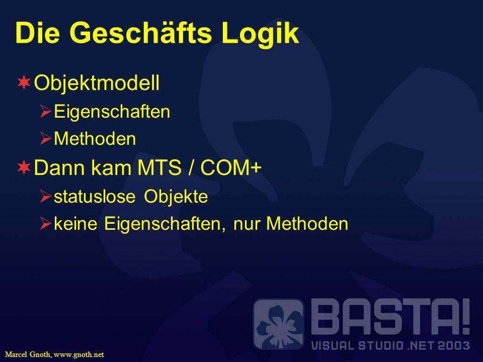 Die Geschäfts Logik Objektmodell Dann kam MTS / COM+ Eigenschaften