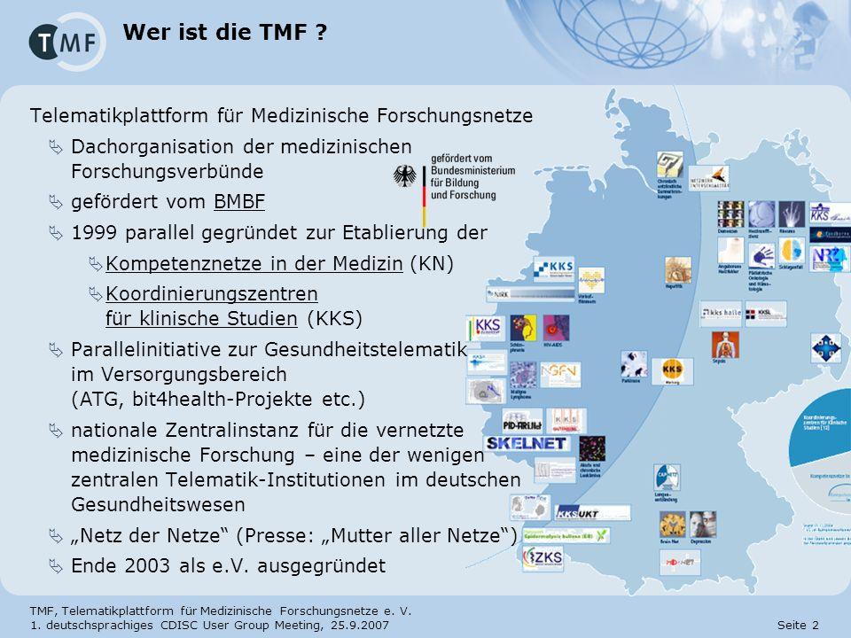 Wer ist die TMF Telematikplattform für Medizinische Forschungsnetze
