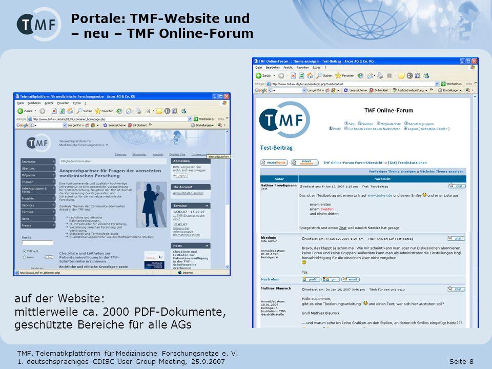Portale: TMF-Website und – neu – TMF Online-Forum