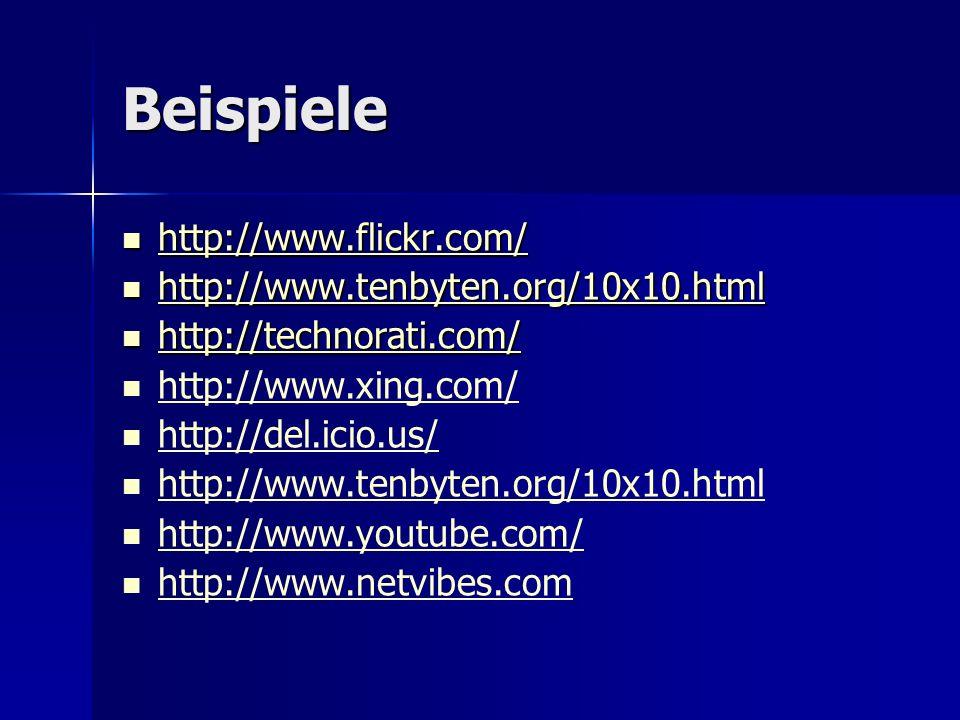 Beispiele http://www.flickr.com/ http://www.tenbyten.org/10x10.html