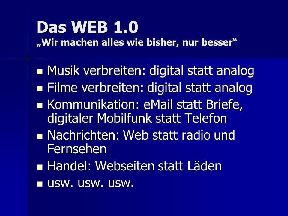 """Das WEB 1.0 """"Wir machen alles wie bisher, nur besser"""