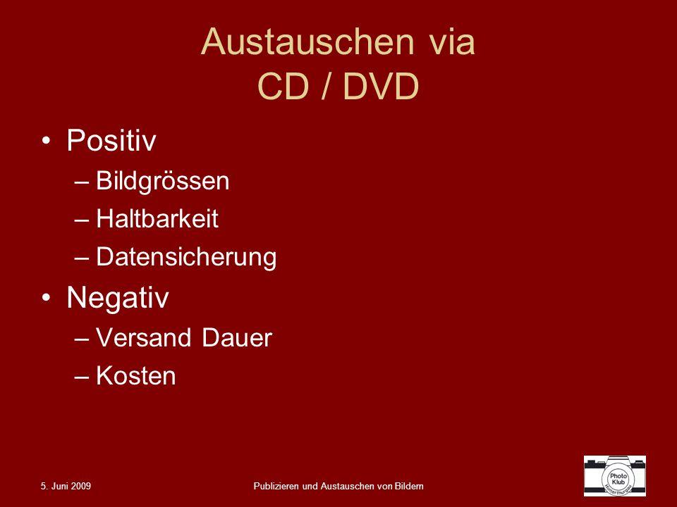 Austauschen via CD / DVD
