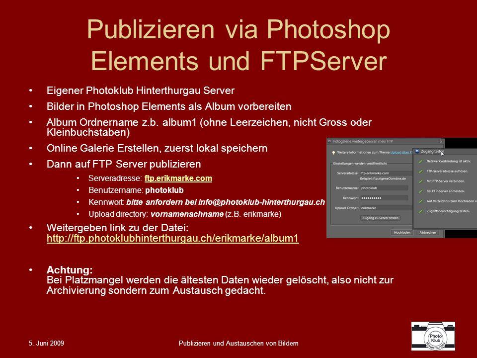 Publizieren via Photoshop Elements und FTPServer