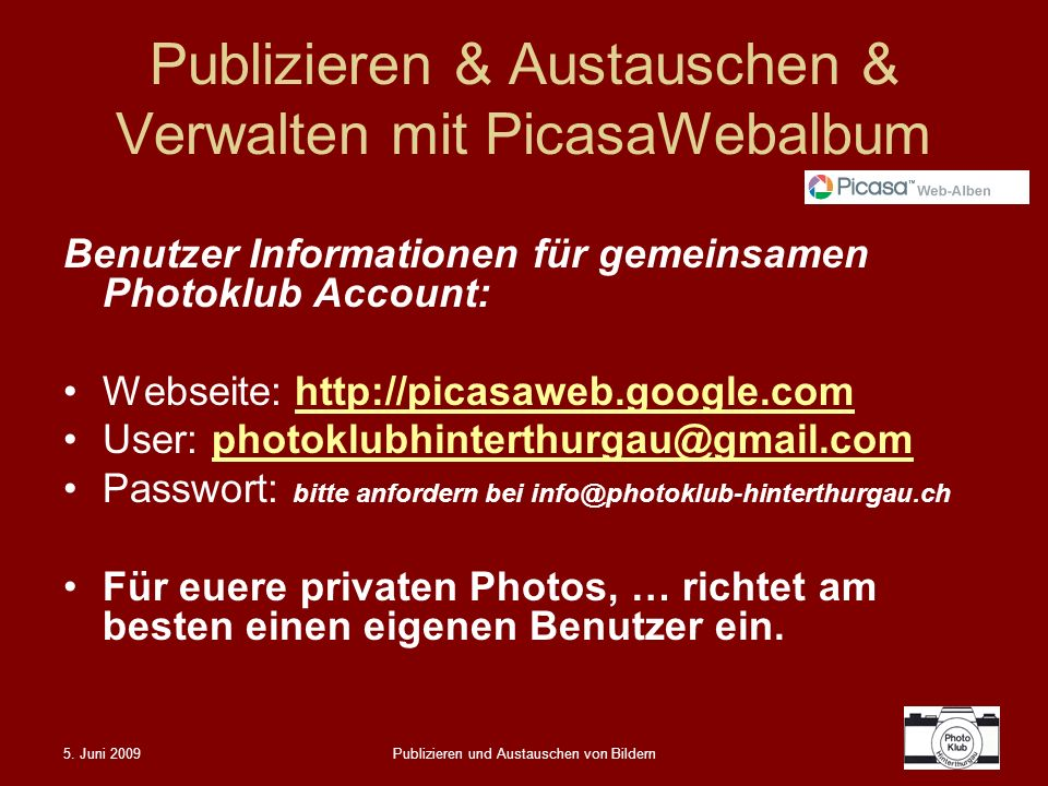Publizieren & Austauschen & Verwalten mit PicasaWebalbum