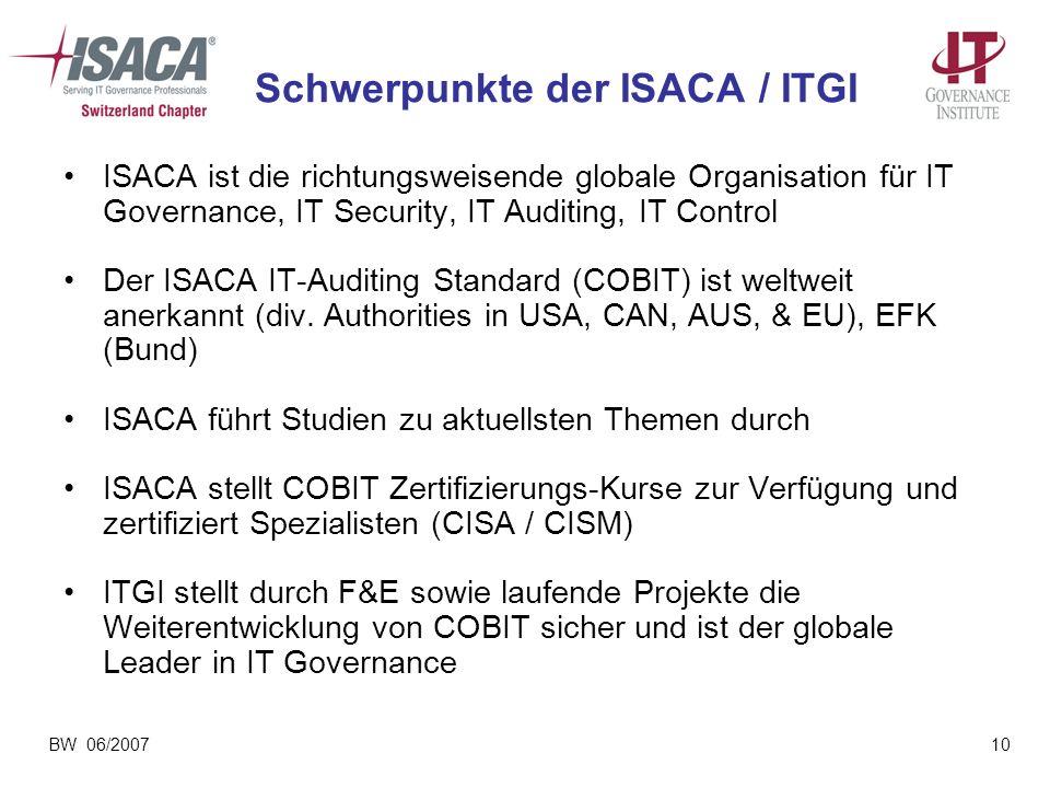 Schwerpunkte der ISACA / ITGI