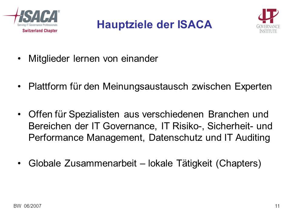 Hauptziele der ISACA Mitglieder lernen von einander