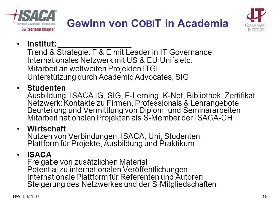 Gewinn von COBIT in Academia