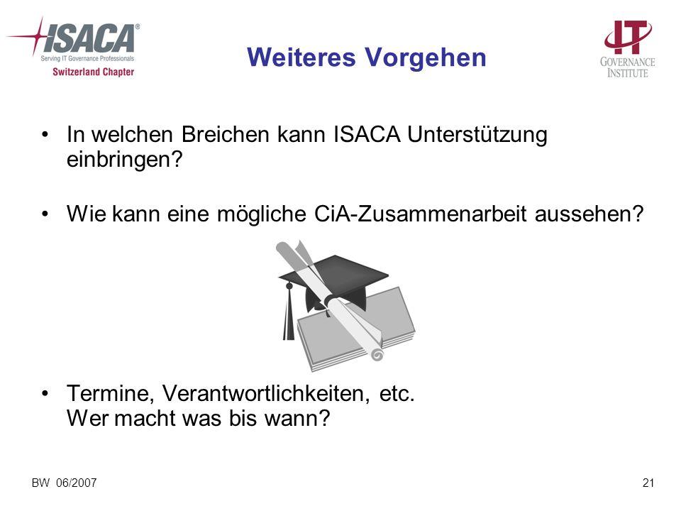 Weiteres Vorgehen In welchen Breichen kann ISACA Unterstützung einbringen Wie kann eine mögliche CiA-Zusammenarbeit aussehen