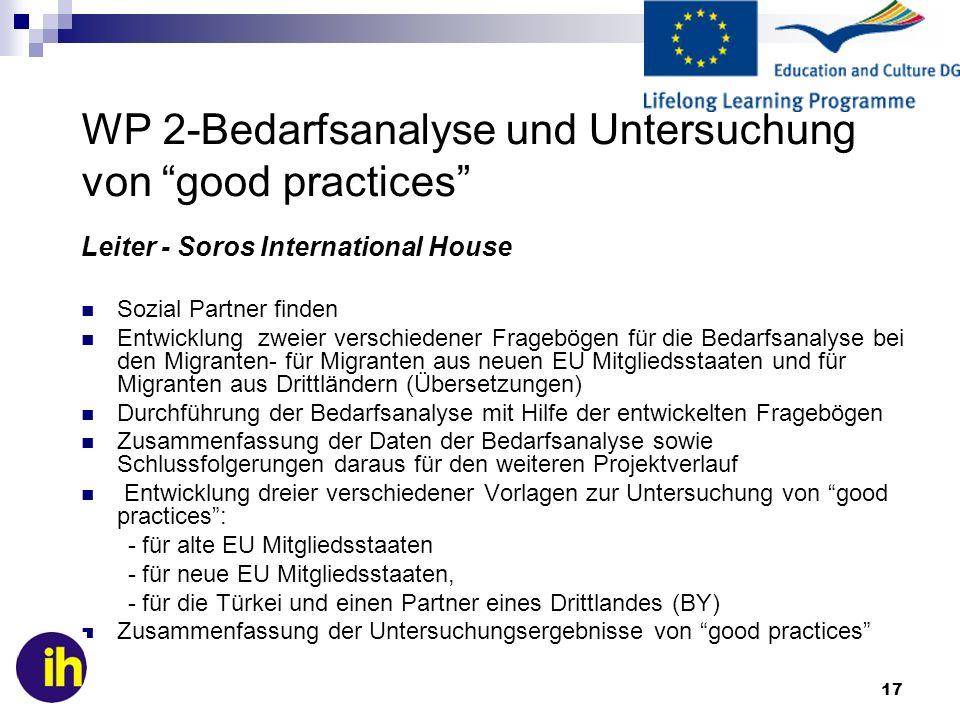 WP 2-Bedarfsanalyse und Untersuchung von good practices