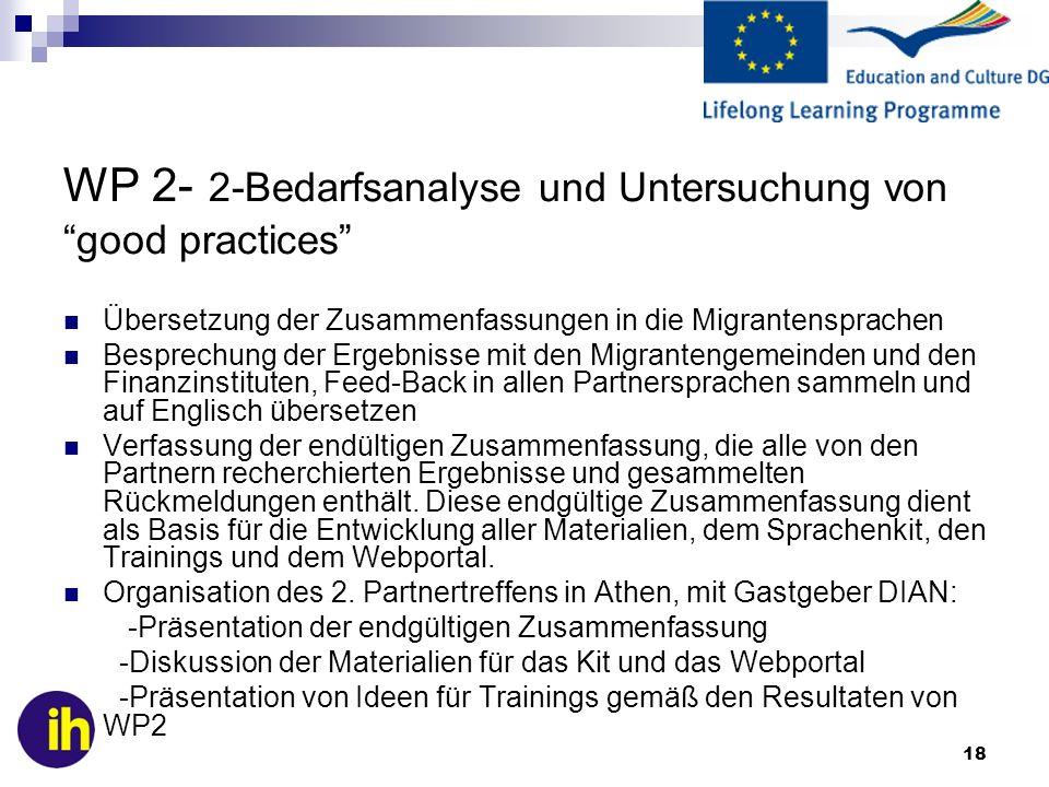 WP 2- 2-Bedarfsanalyse und Untersuchung von good practices