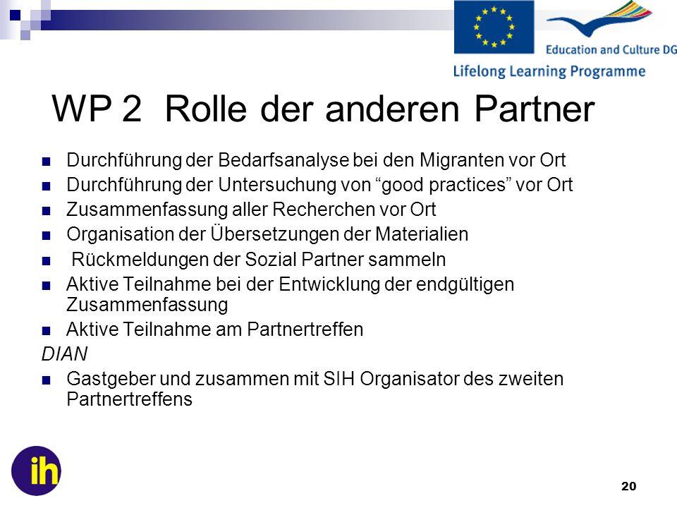 WP 2 Rolle der anderen Partner