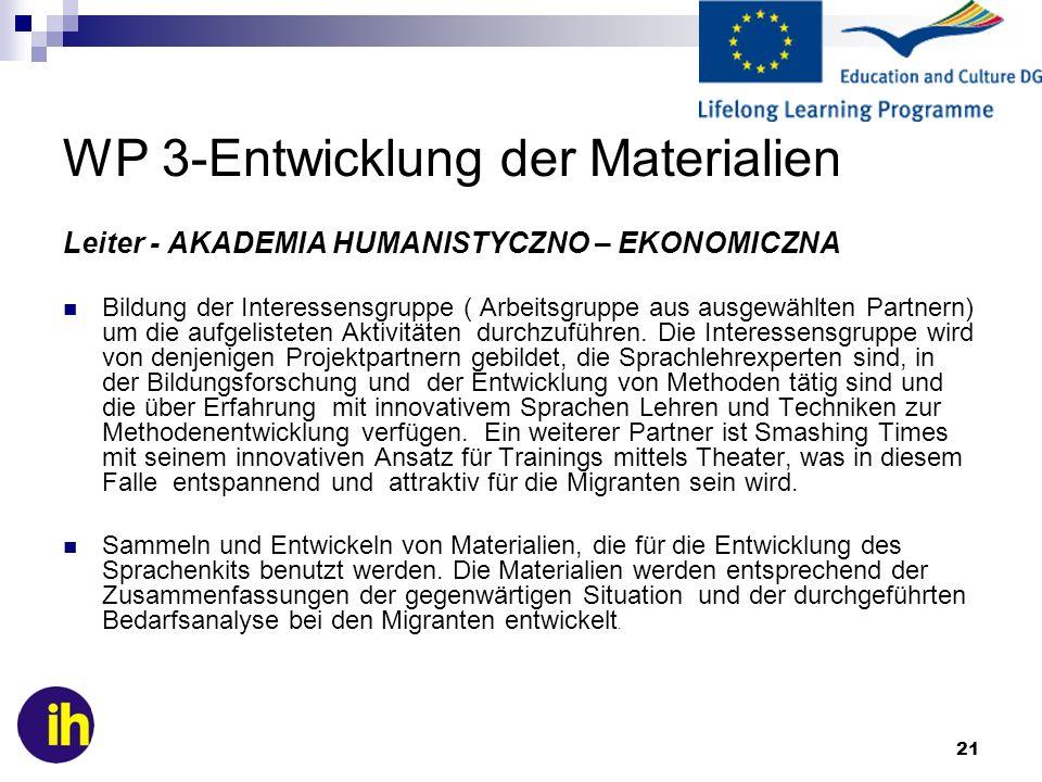 WP 3-Entwicklung der Materialien