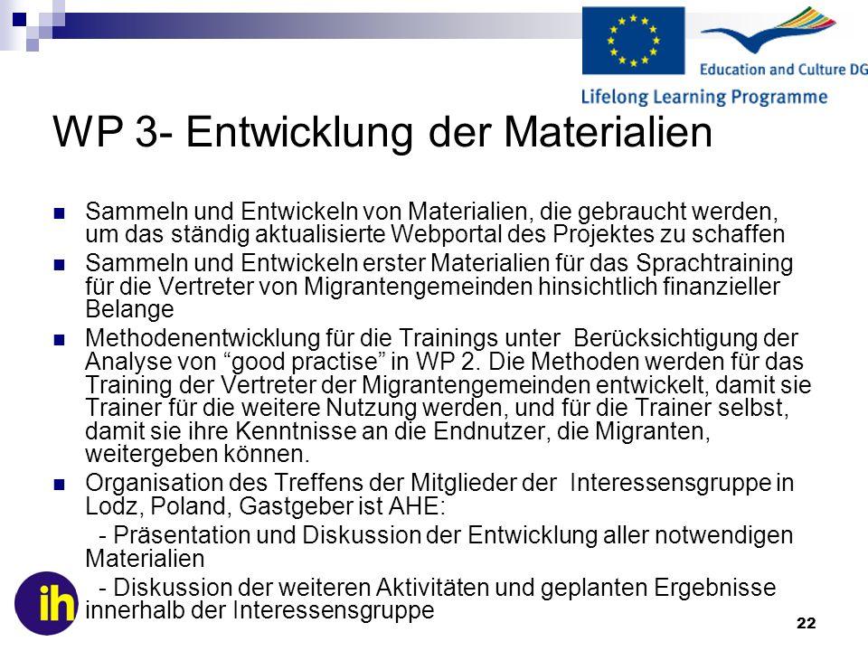 WP 3- Entwicklung der Materialien