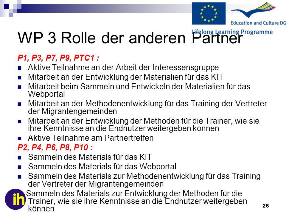 WP 3 Rolle der anderen Partner