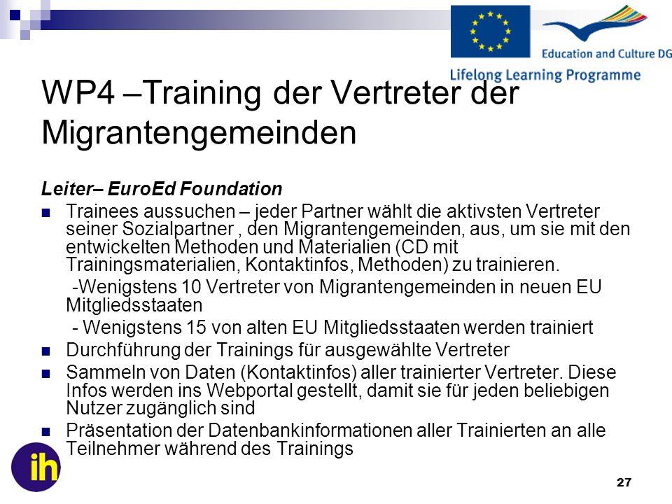 WP4 –Training der Vertreter der Migrantengemeinden