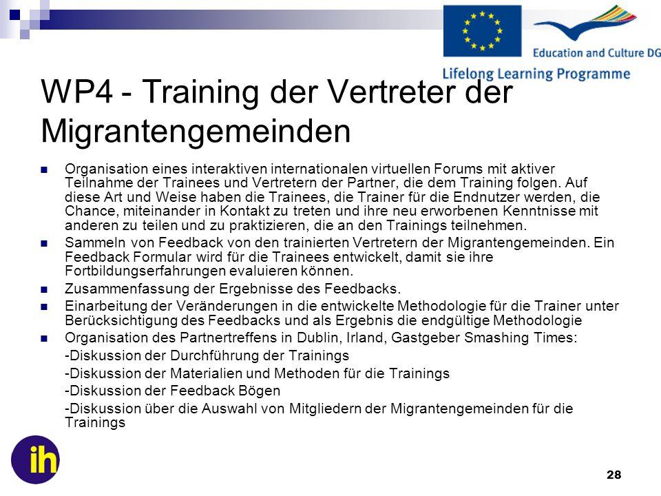 WP4 - Training der Vertreter der Migrantengemeinden