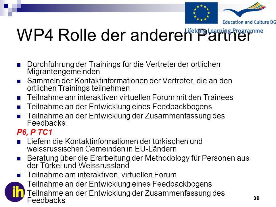 WP4 Rolle der anderen Partner