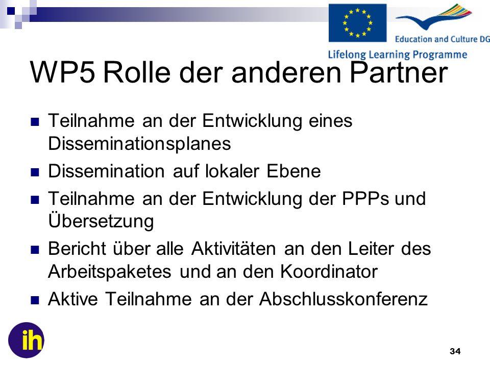 WP5 Rolle der anderen Partner